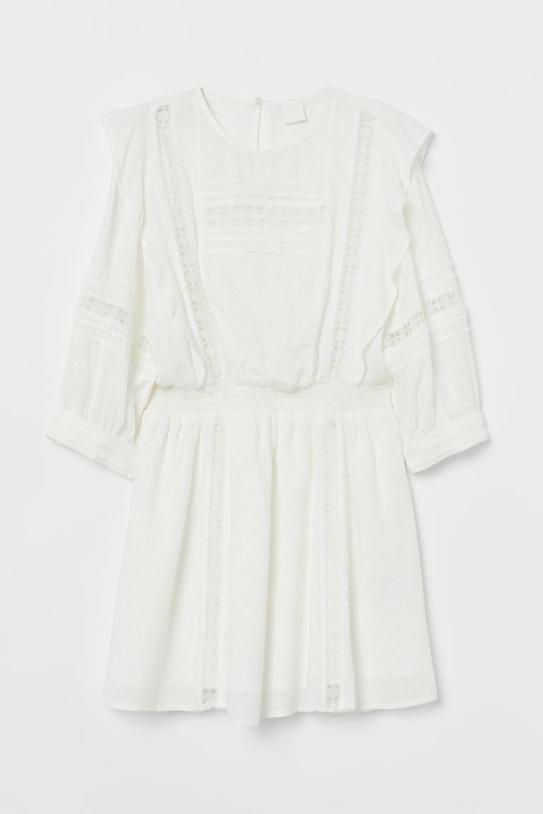 Jacquard-weave Dress - Natural white - Ladies | H&M US