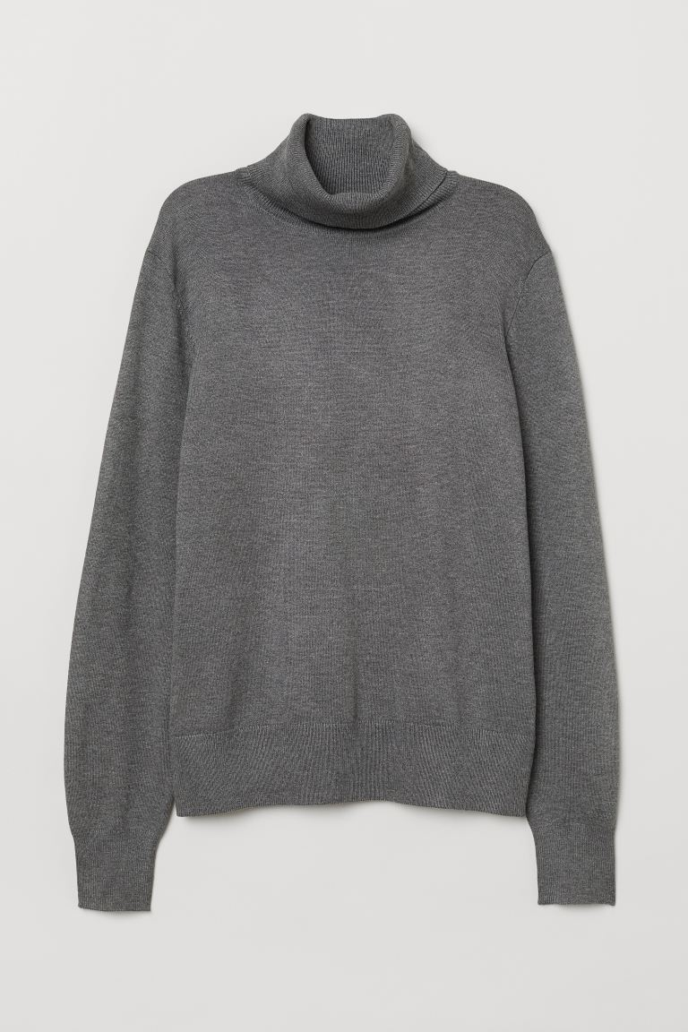 Fine-knit Turtleneck Sweater - Gray melange - Ladies | H&M CA