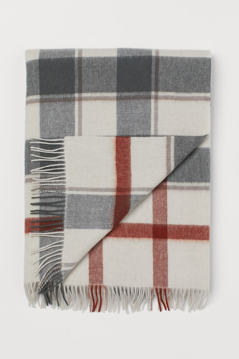 Plaid à carreaux en laine - Beige clair/carreaux - HOME | H&M BE