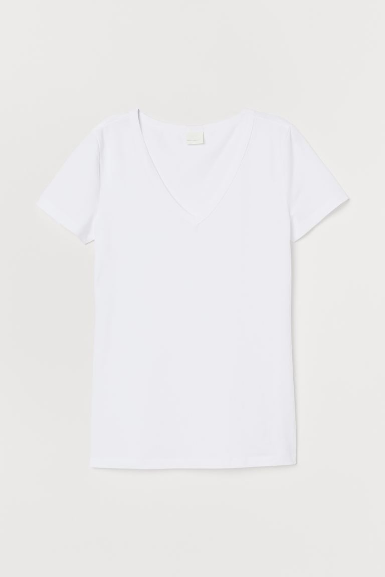 V-neck jersey top - White - Ladies | H&M GB