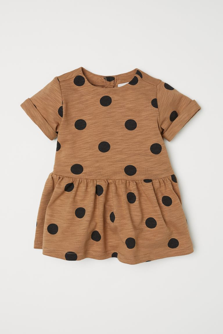 Slub Jersey Dress - Dark beige/dotted - Kids | H&M US