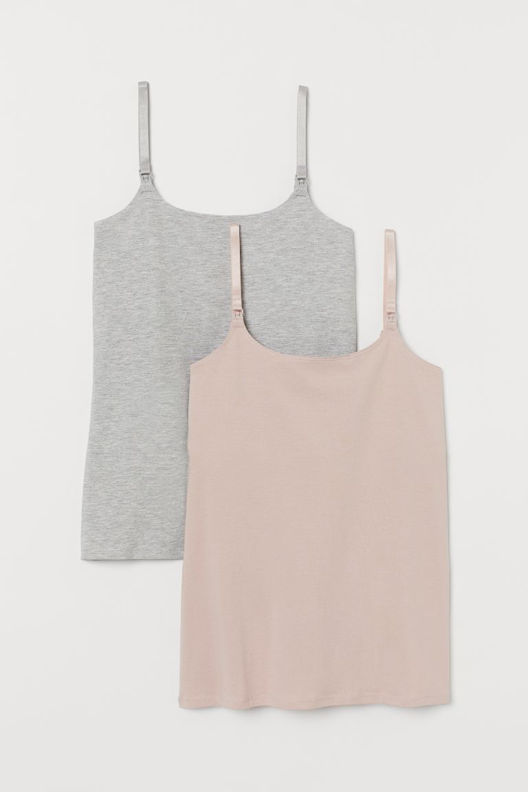 MAMA 2-pack Nursing Tank Tops - Powder beige/lt. gray melange - Ladies | H&M US
