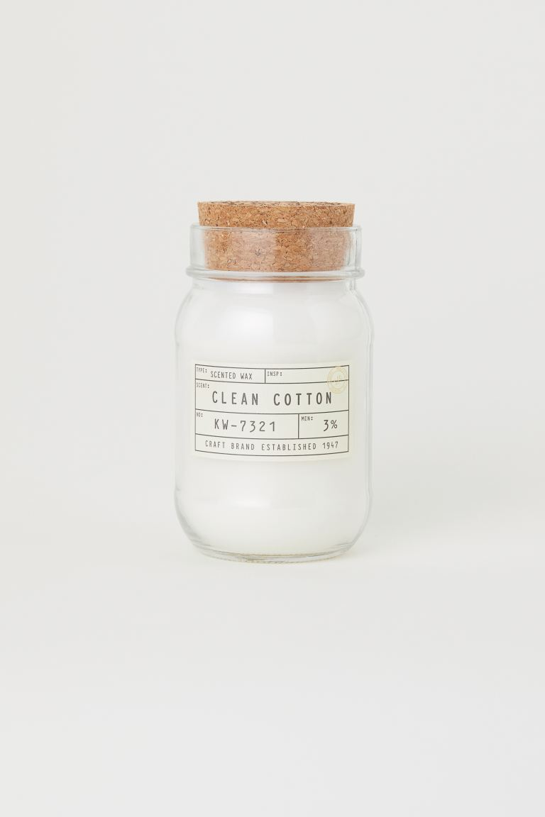 Scented candle in a glass jar - Clear glass/Clean cotton - Home All | H&M GB