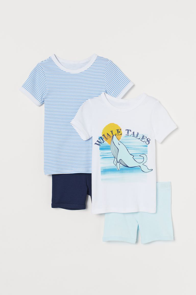 2-pack jersey pyjamas - Blue striped/Whale - Kids | H&M GB