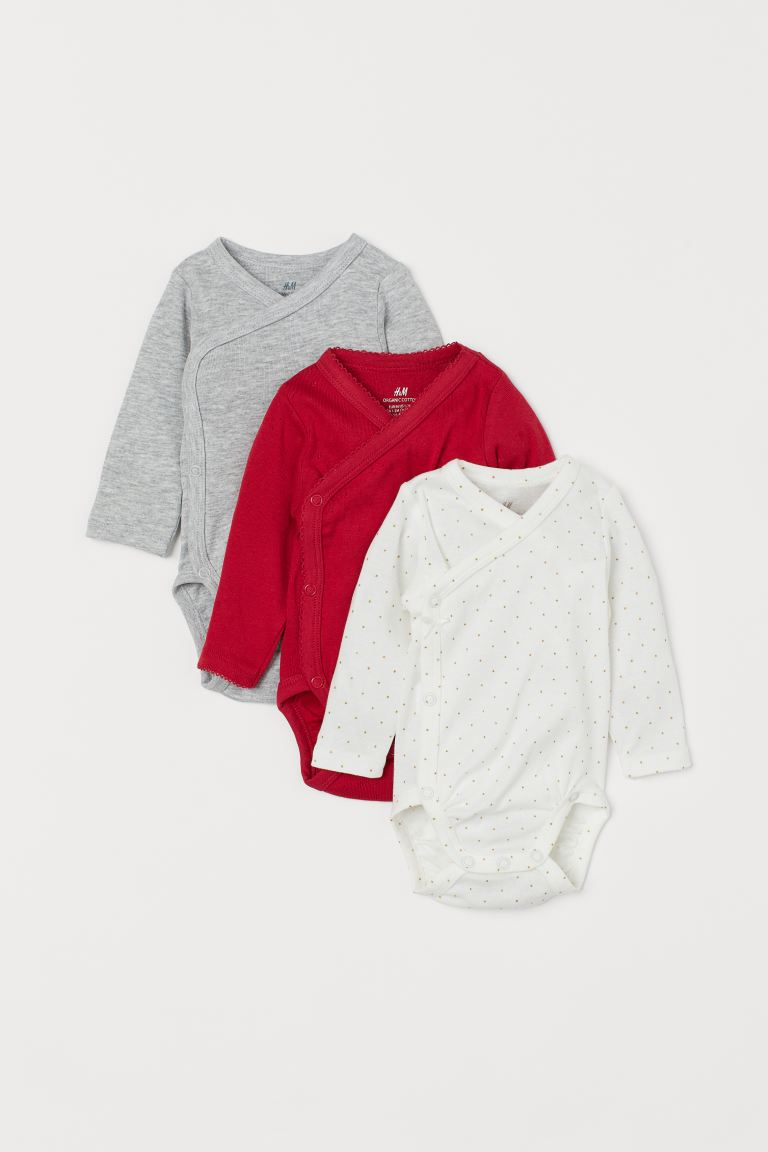 3-pack long-sleeved bodysuits - Red/Glittery - Kids | H&M