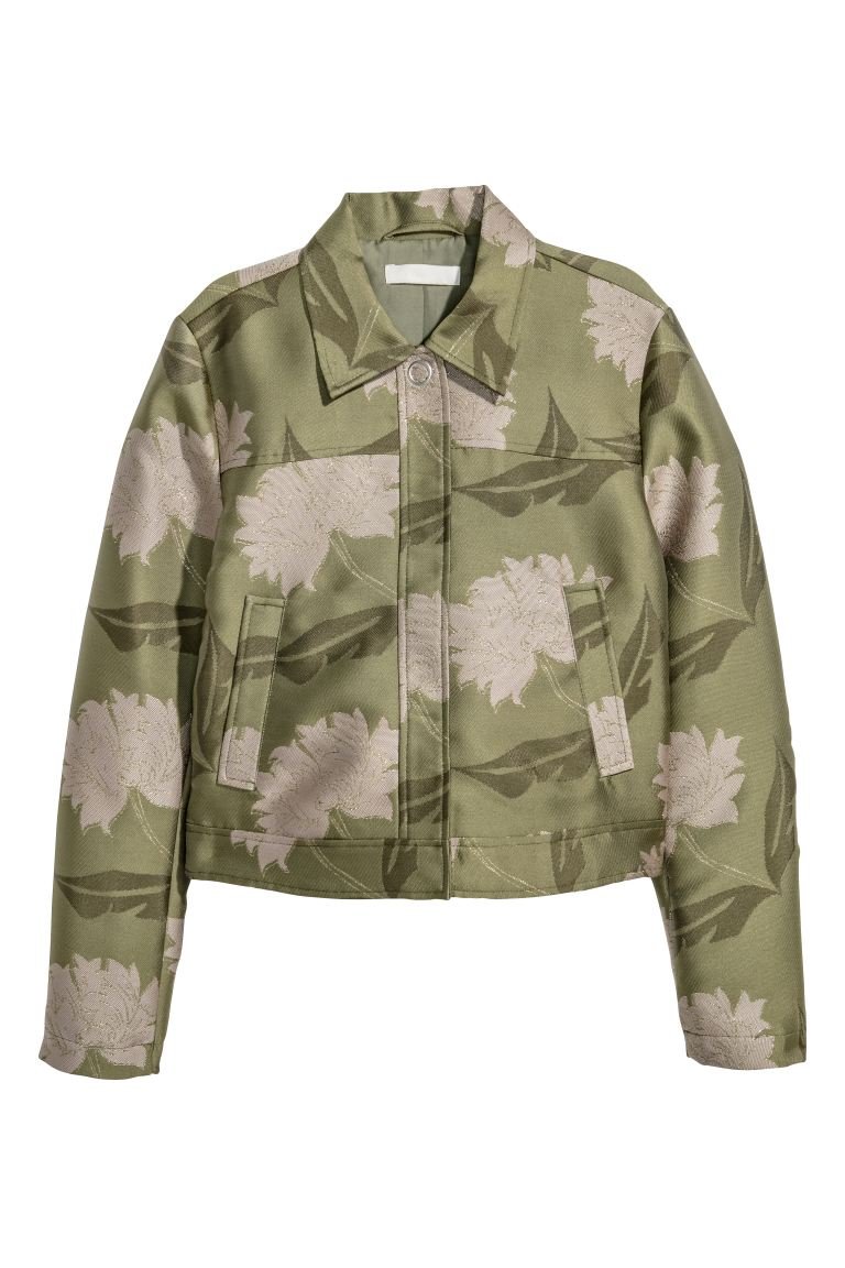 Jacquard-patterned jacket - Green/Floral - Ladies | H&M GB