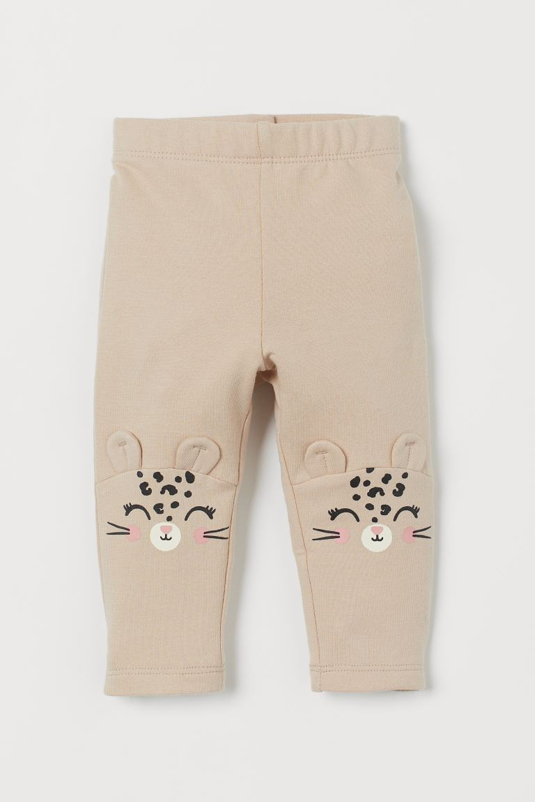 Leggings with brushed inside - Light beige/Leopard - Kids | H&M