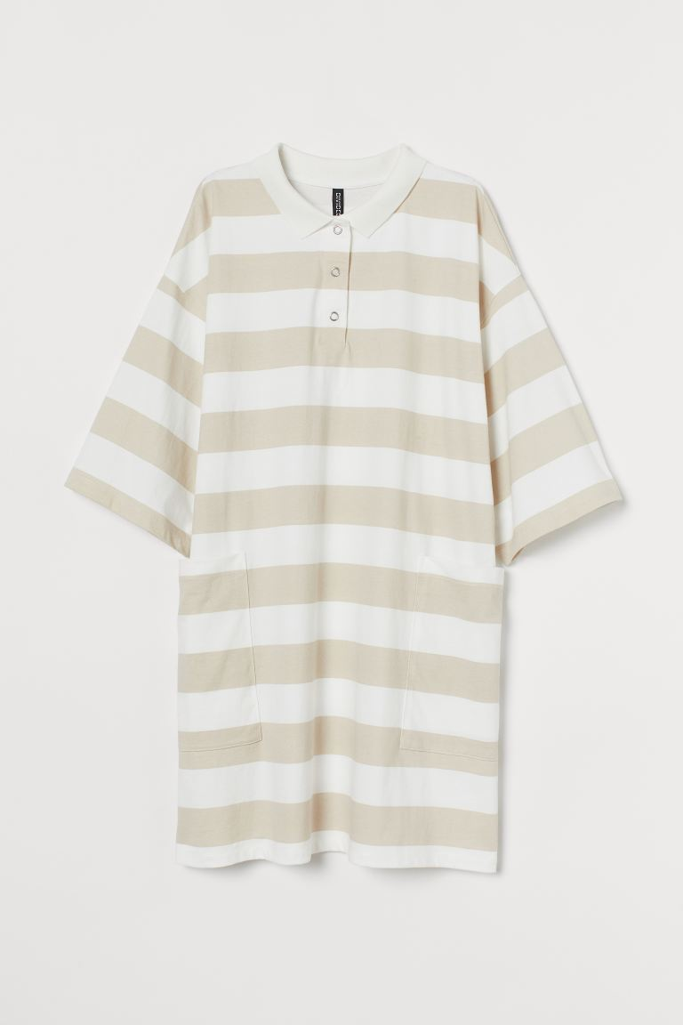 T-shirt dress with a collar - Light beige/Striped - Ladies | H&M