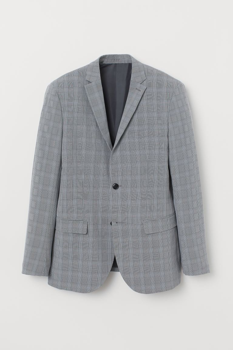 Jacket Slim Fit - Grey/Checked - Men | H&M