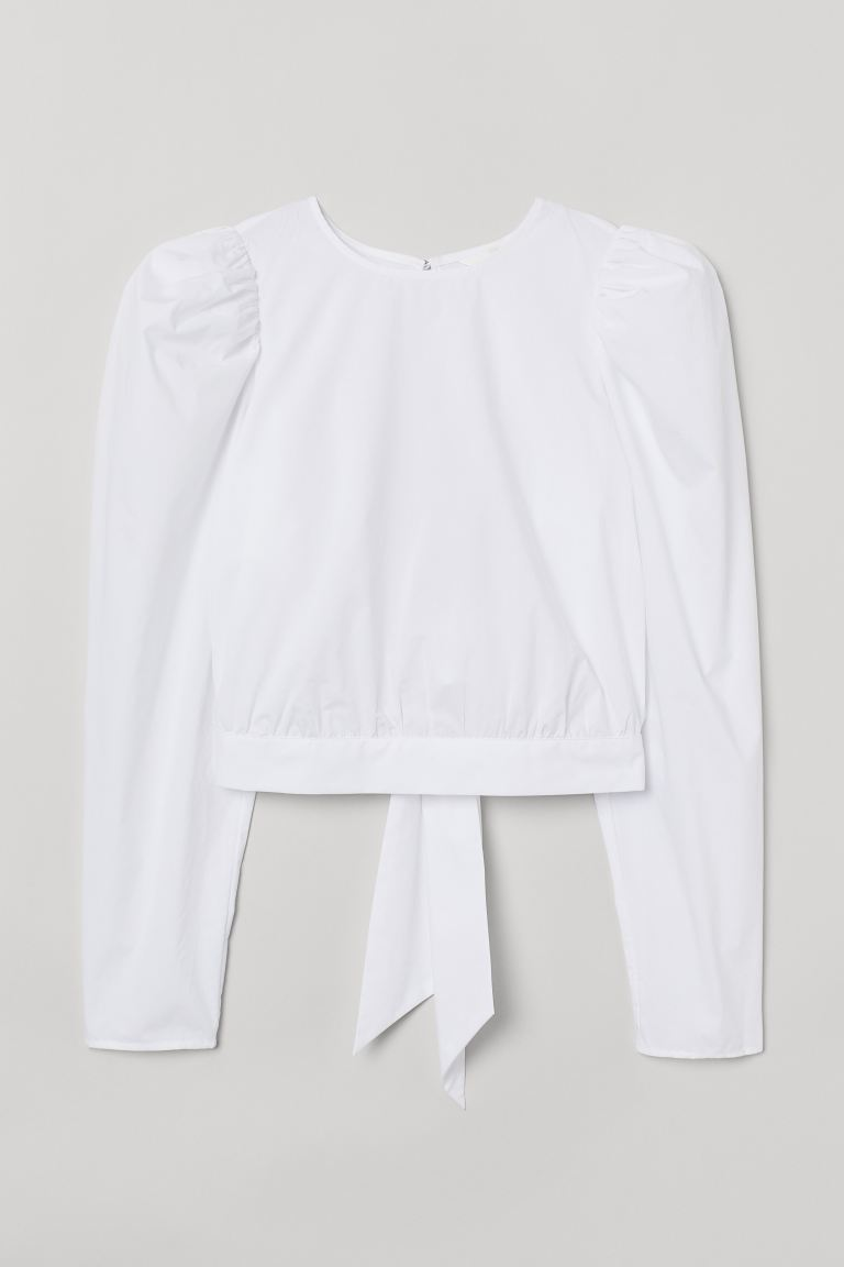 Puff-sleeved cotton blouse - White - Ladies | H&M GB