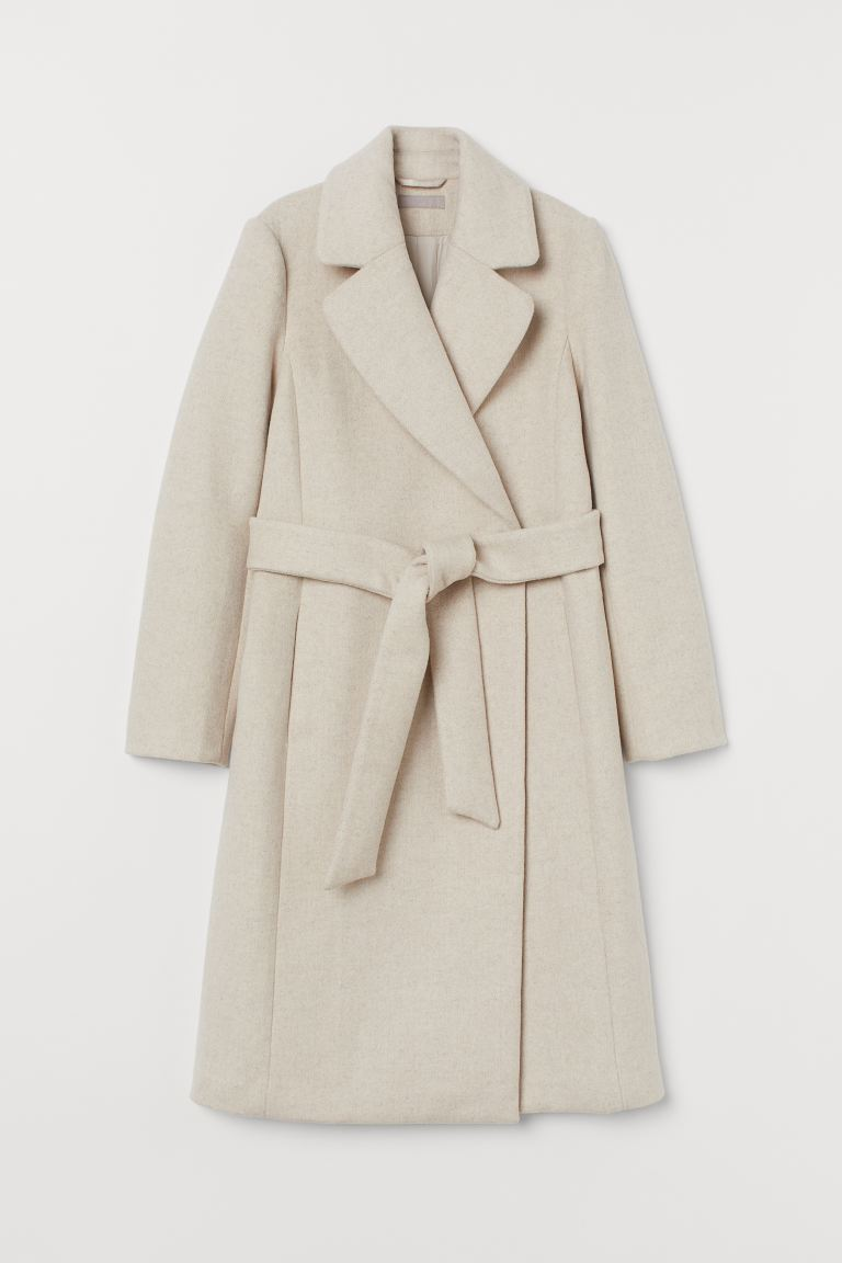 Wool-blend coat - Natural white - Ladies | H&M GB