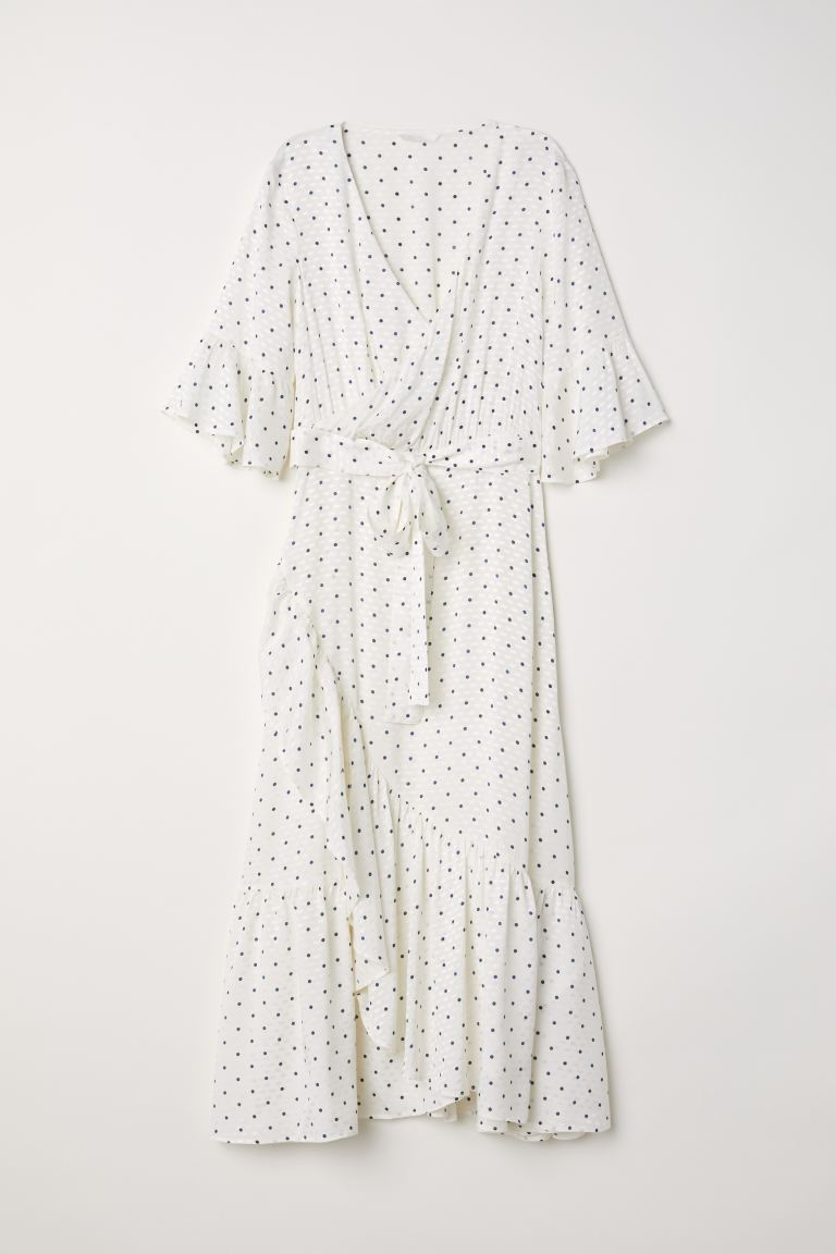 Flounced dress - White/Spotted - Ladies | H&M IE