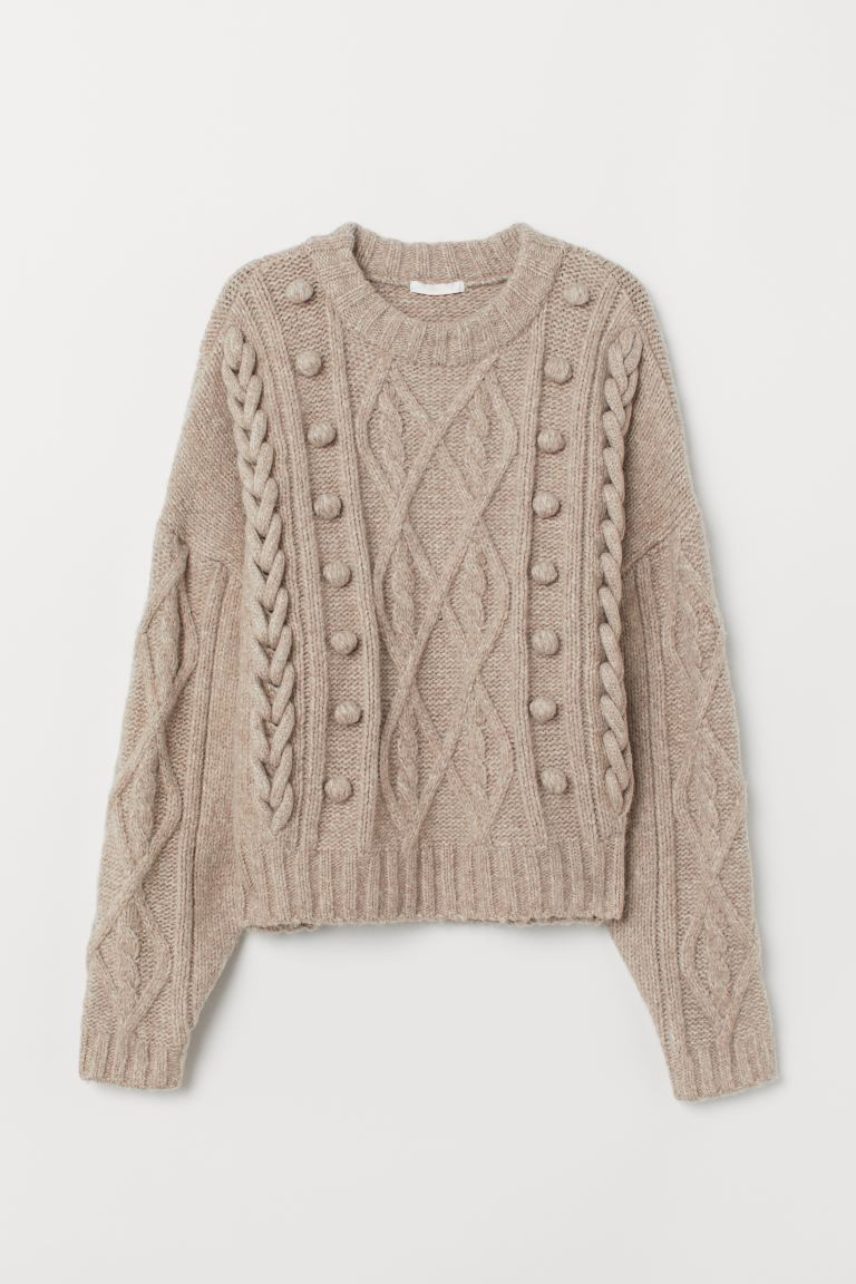 Cable-knit Sweater - Beige melange - Ladies | H&M US