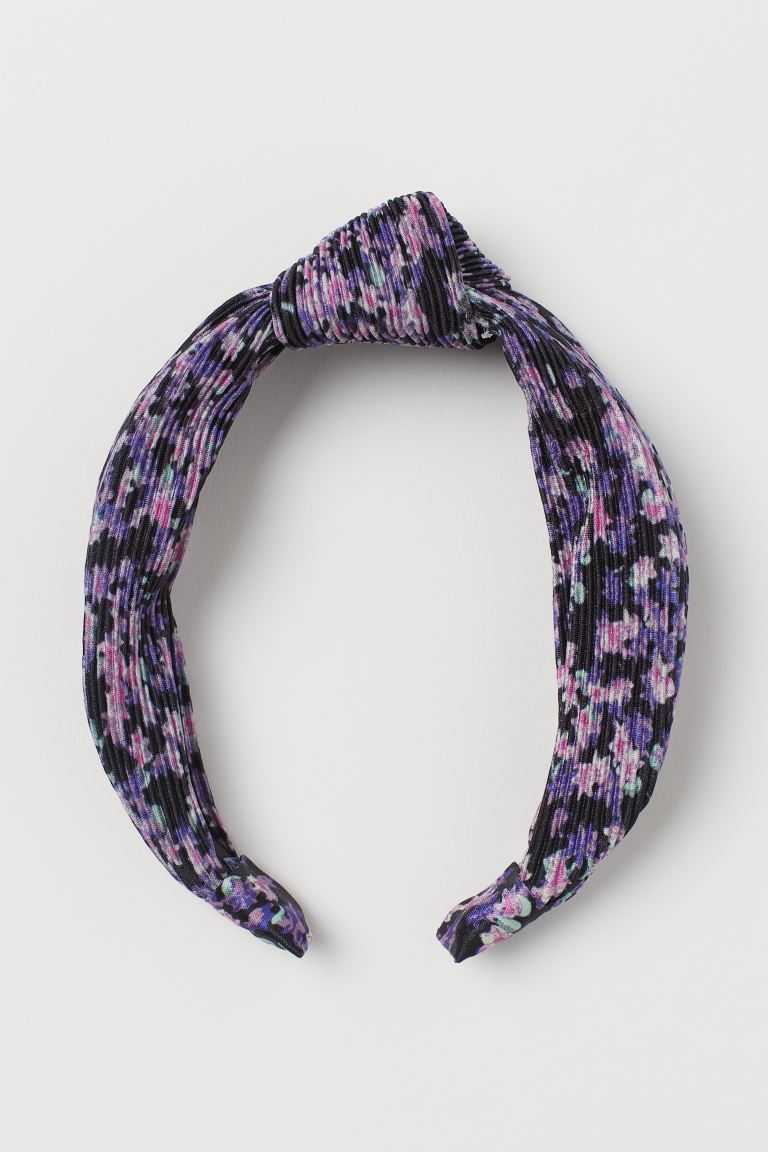Cerchietto con nodo decorativo - Nero/viola fiori - DONNA | H&M IT