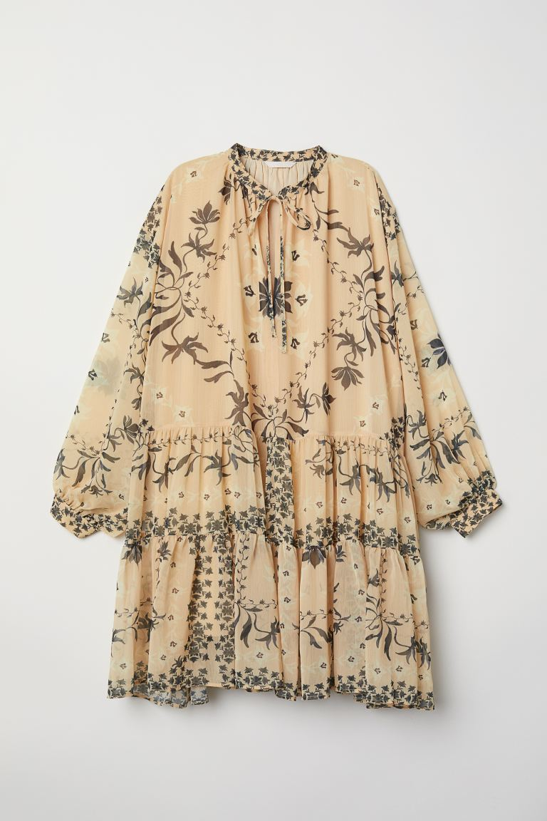Balloon-sleeved tunic - Light beige/Patterned - Ladies | H&M GB