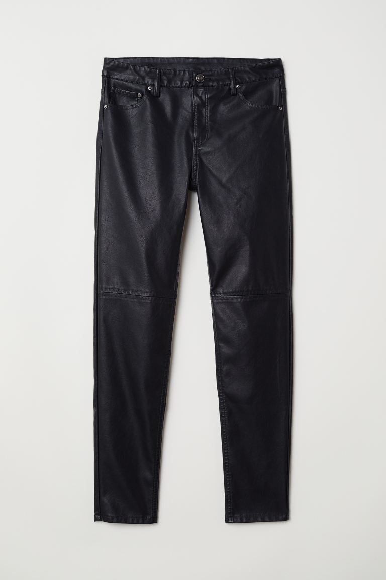 Imitation leather trousers - Black - Ladies | H&M GB