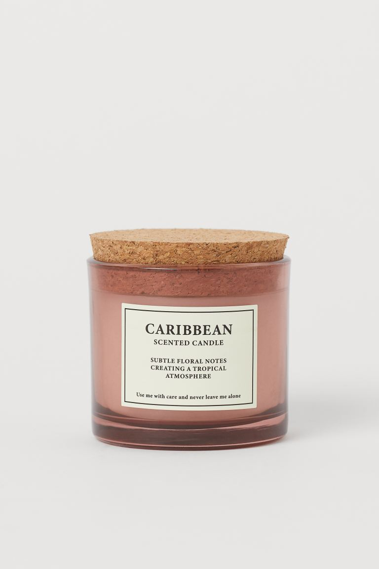 Scented Candle with Cork Lid - Pink/Caribbean - Home All | H&M US