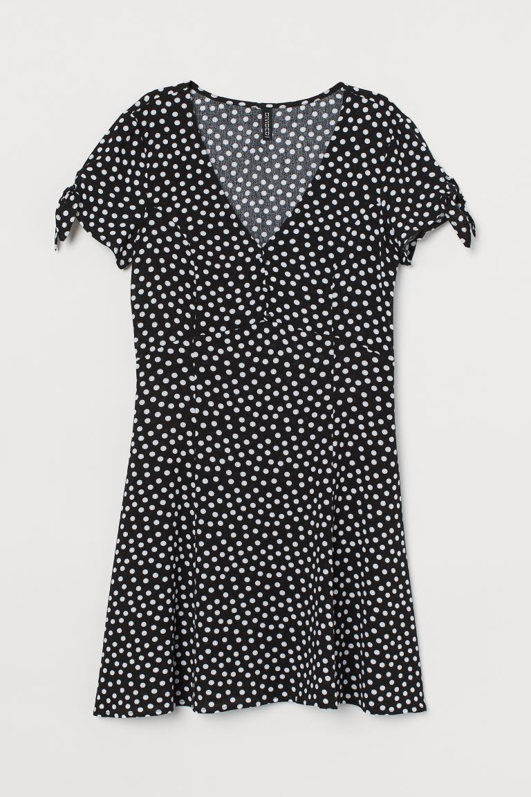 V-neck dress - Black/White spotted - Ladies | H&M GB