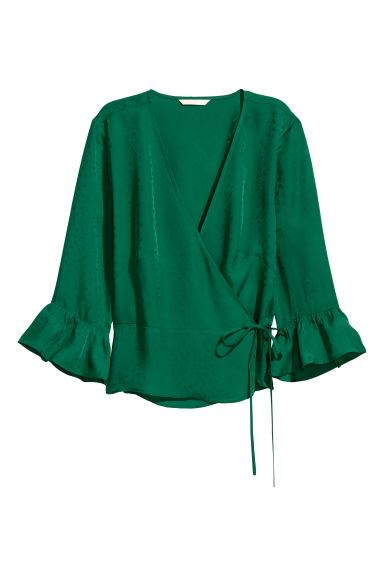 Patterned wrapover blouse - Emerald green/Leaf - Ladies | H&M IE