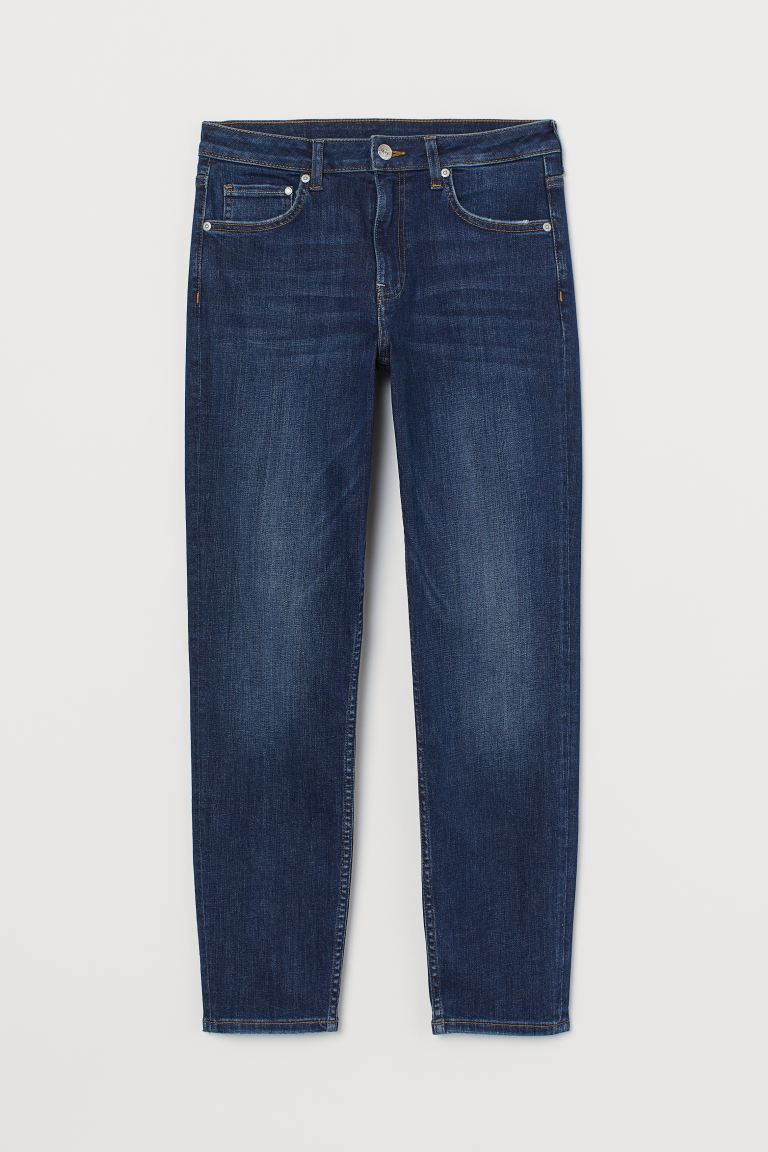 Girlfriend Regular Ankle Jeans - Dark denim blue - Ladies | H&M AU