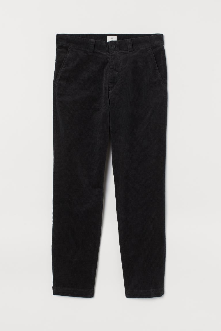 Cotton corduroy trousers - Black - Men | H&M