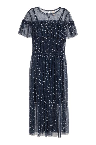 Printed mesh dress - Dark blue/Stars - Ladies | H&M GB