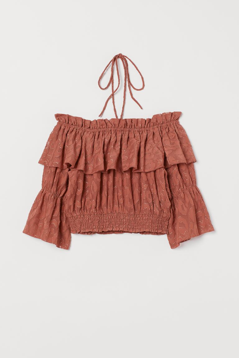 Jacquard-weave Top - Rust - Ladies | H&M US