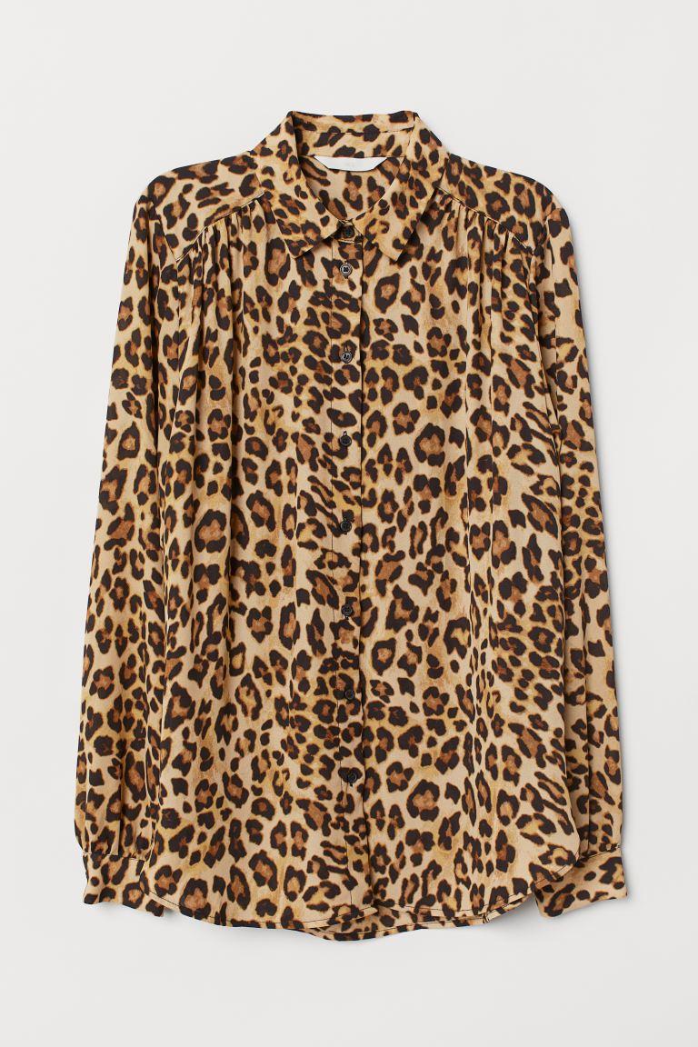 Invertir morir encanto  Blusa de manga larga - Beige/Estampado de leopardo - Ladies | H&M MX