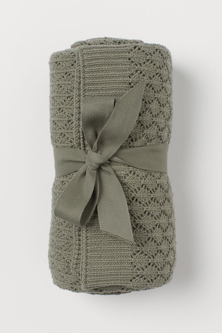 Knit Cotton Throw - Khaki green - Home All | H&M US