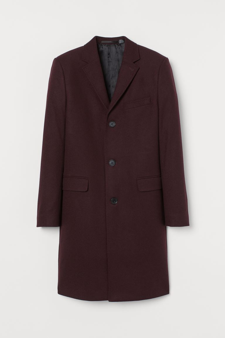 Wool-blend coat - Burgundy - Men | H&M