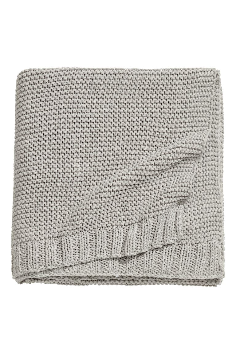 Knitted cotton-blend blanket - Light mole - Home All | H&M GB