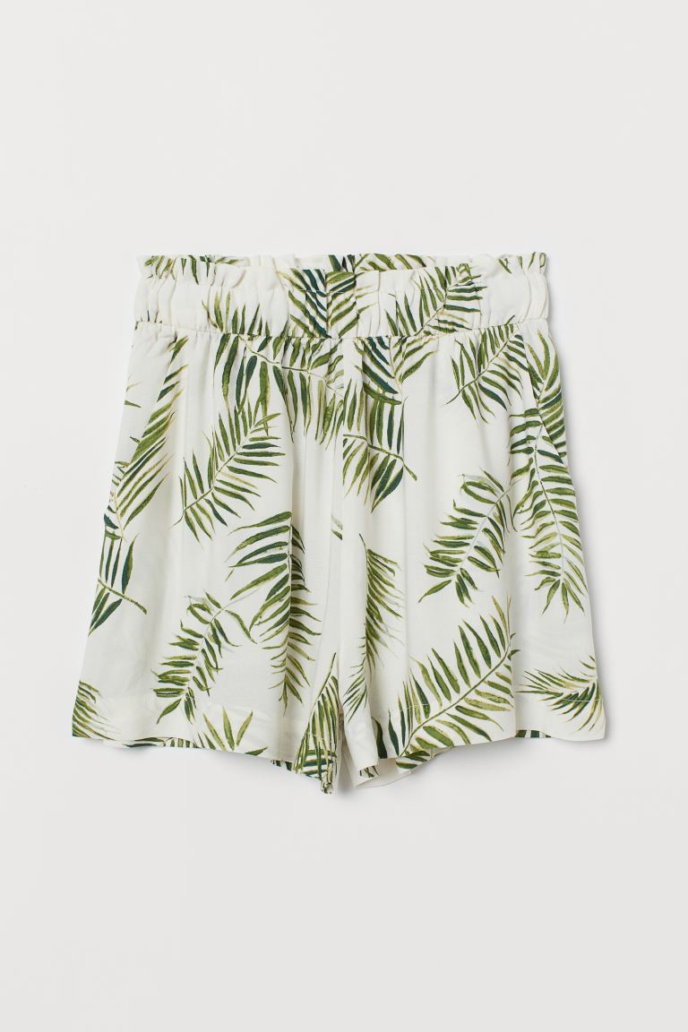 Wide-cut Shorts - White/palm leaves - Ladies | H&M US