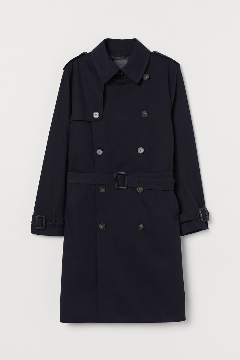 Cotton twill trenchcoat - Dark blue - Men | H&M GB