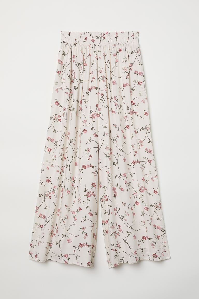 Cropped viscose trousers - Natural white/Floral - Ladies | H&M GB