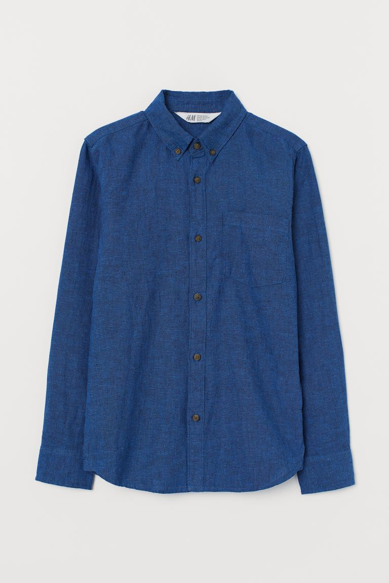 Linen Blend Shirt - Dark blue marle - Kids | H&M AU