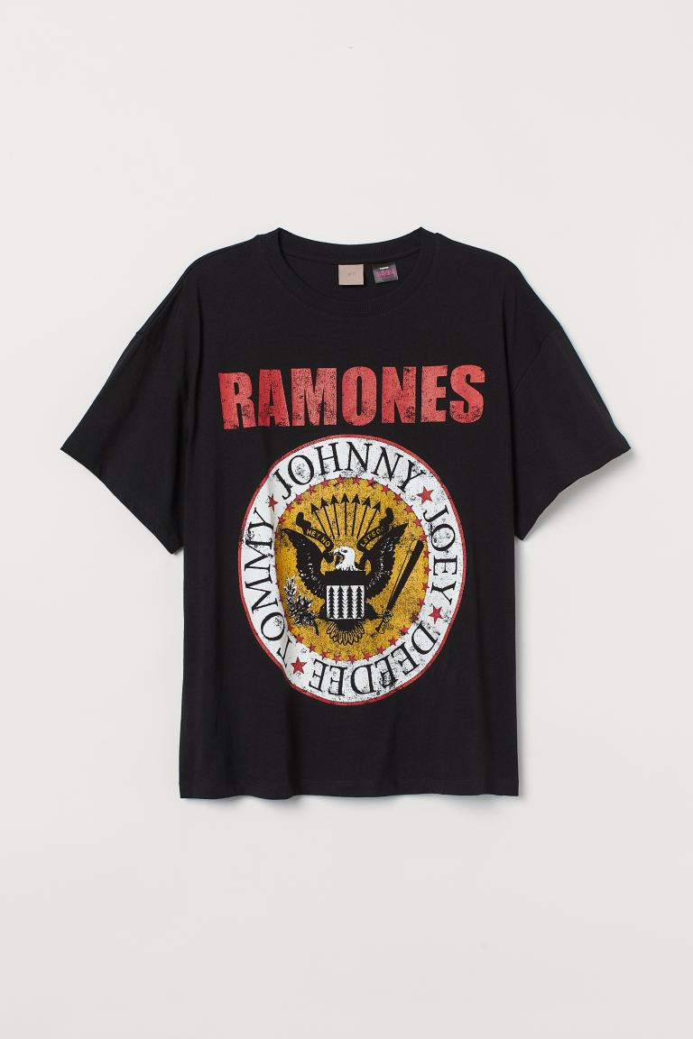 H&M+ Oversized T-shirt - Black/Ramones - Ladies | H&M