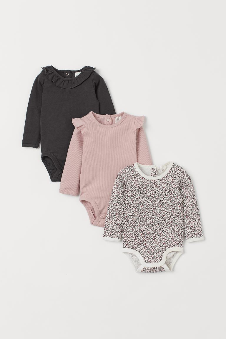 3-pack Cotton Bodysuits - Light pink/small flowers - Kids | H&M US