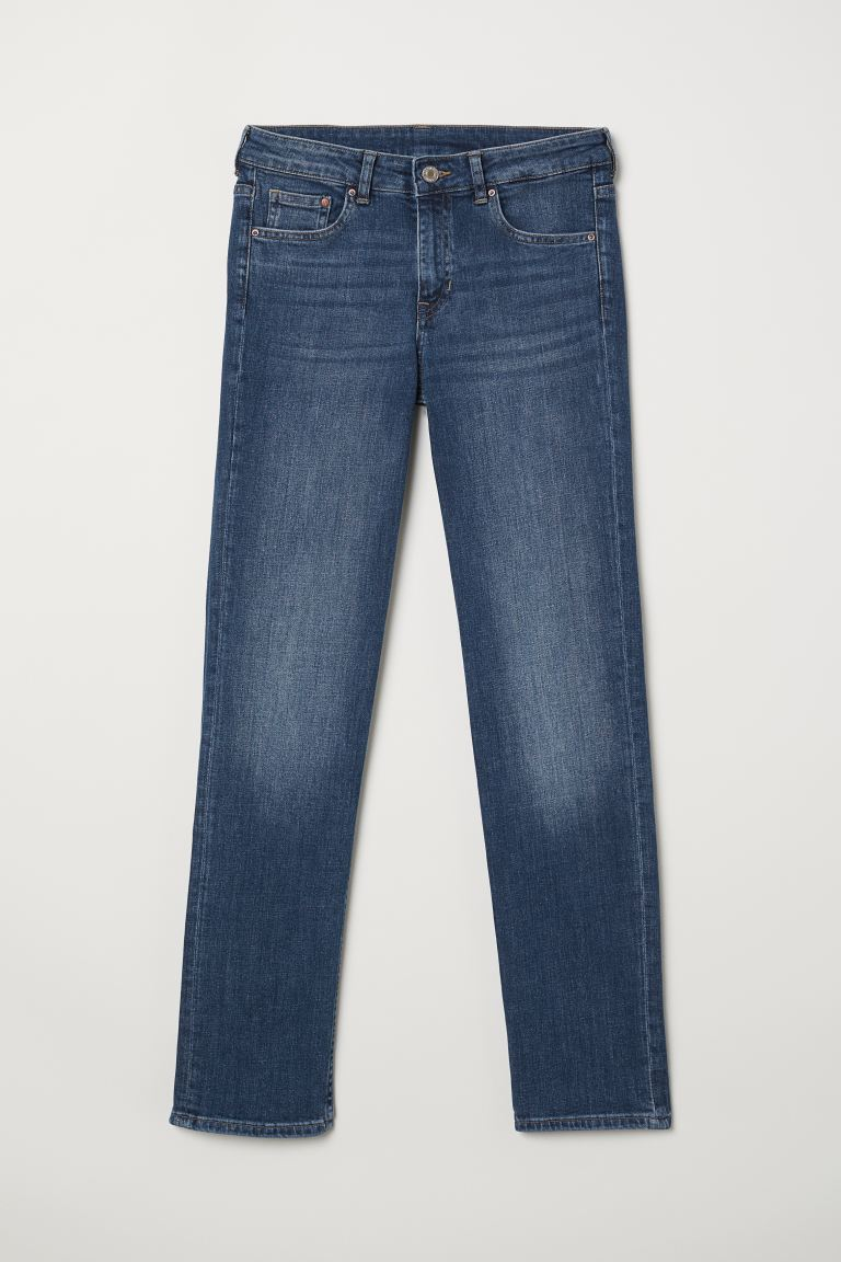 Straight Regular Jeans - Donker denimblauw - DAMES | H&M NL