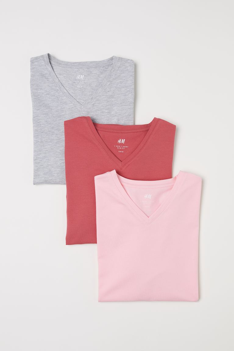T-shirts Slim Fit, lot de 3 - Rose clair - HOMME | H&M FR