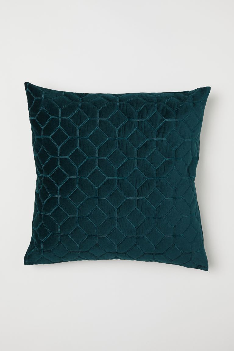 Quilted Velvet Cushion Cover - Dark green - Home All | H&M CA