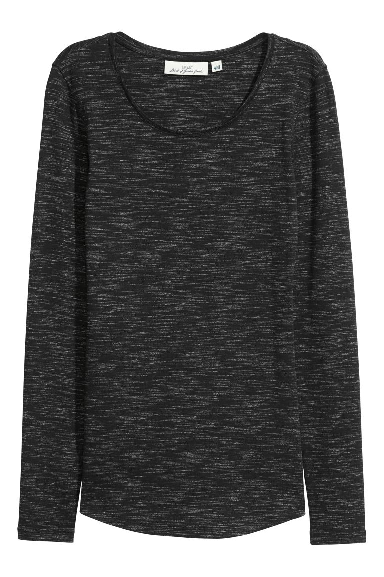 Long-sleeved jersey top - Black marl - Ladies | H&M GB