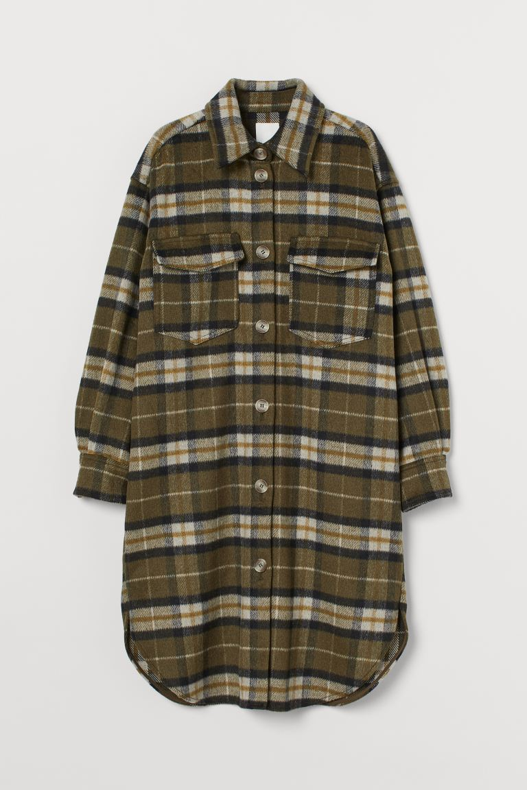 Long shirt jacket - Dark khaki green/Checked - Ladies | H&M