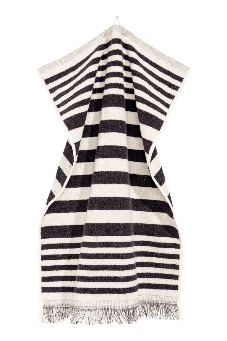 Striped hand towel - White/Grey striped - Home All | H&M GB