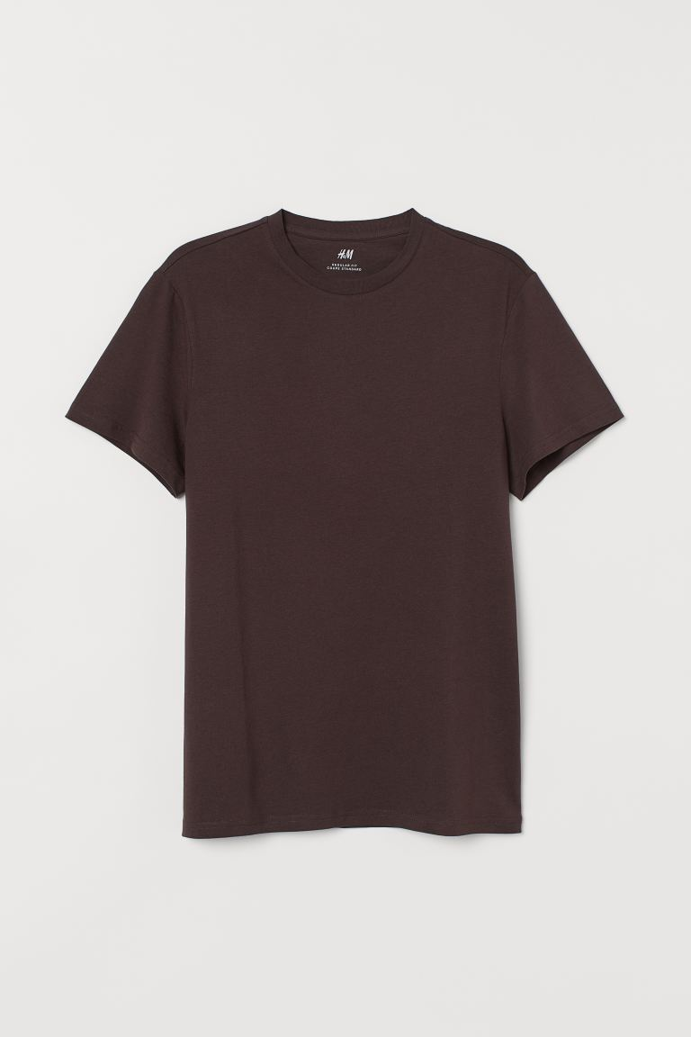 Regular Fit Crew-neck T-shirt - Dark brown - Men | H&M CA