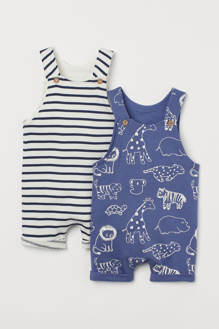 2-pack Romper Suits - Blue/animals - Kids | H&M CA
