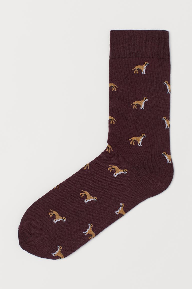 Patterned socks - Dark red/Labradors - Men | H&M IE