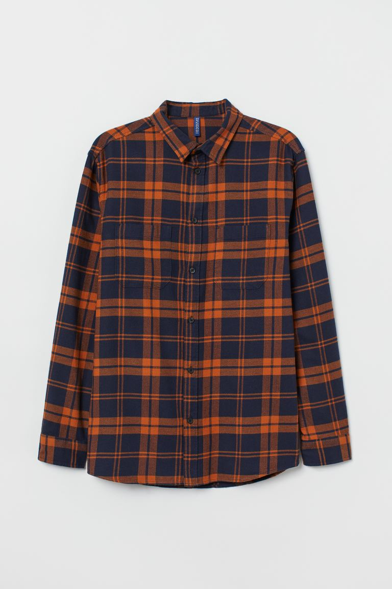 Cotton flannel shirt - Dark blue/Orange - Men | H&M