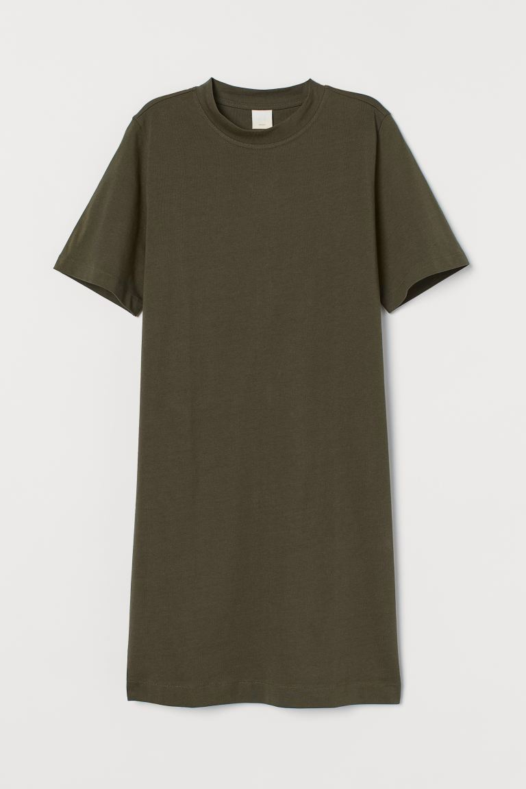 Cotton T-shirt dress - Dark khaki green - Ladies | H&M IE
