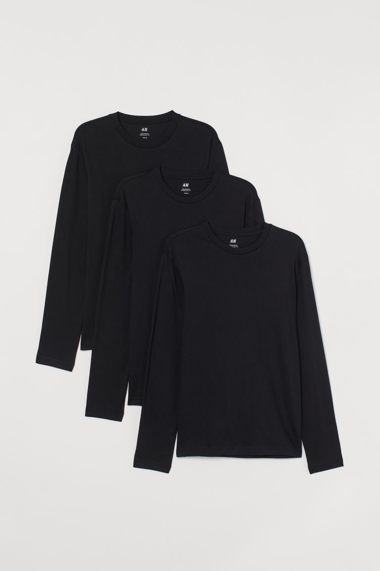 3-pack jersey tops Regular Fit - Black - Men | H&M