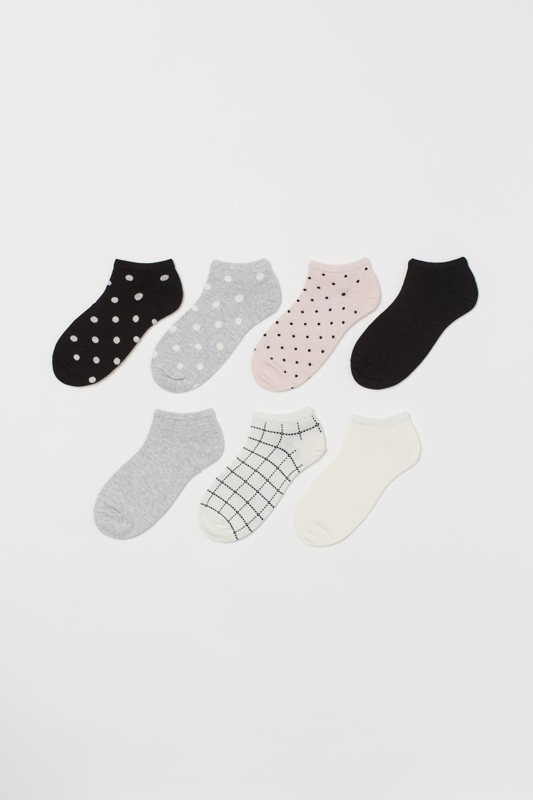 7-pack Ankle Socks - White/patterned - Kids | H&M US